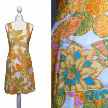 70's Print Dress - Retro Hawaiian Style Orange Print - 1970's Vintage Dress - Cotton Damask Floral Dress - Sundress