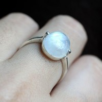Handmade Simple Nature Moonstone Silver Ring