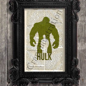 The Hulk illustration art print - Old vintage 1880 encyclopedia pages - like vintage dictionary - wall art - comic book print