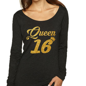 Women's Shirt Queen 16 Glitter Gold 16th Sweet Sixteen Party