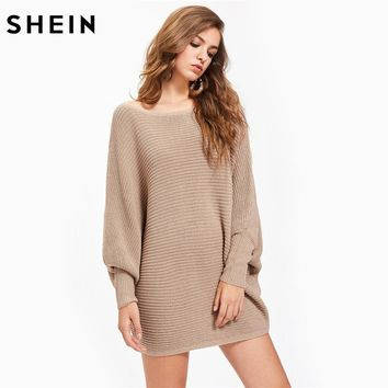 SHEIN Ladies Dolman Sleeve Textured Jumper Autumn Pullover for Women Khaki Batwing Sleeve Casual Loose Sweaters