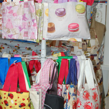SALE - 10 Fabric Gift Bags, Candy, Totes Etc - fully lined, French Fabric