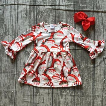 baby girls boutique Christmas dress girls Christmas party dress Santa Claus dress girls long sleeve milk silk dress with bows