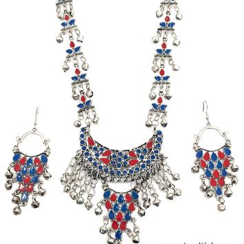 Afghani style Long Necklace and Earring set