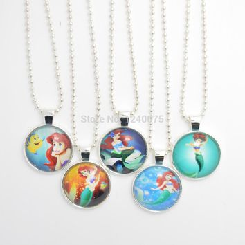 "18"" 10pc PartyPack Princess Ariel Necklace, little Mermaid Stainless Steel Chain Necklace, Ariel Inspired Necklace Party Favors"