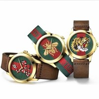 GUCCI Trending Casual Women Bee Embroidery Watch Business Watches Wrist Watch I