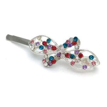 6pcs Hot Hair Accessories Mix Color Leaf And Bow Tie Crystal Rhinestone Hairpins Women Wedding Gift Trendy Hair Clip Barrettes