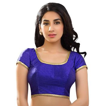 Designer Indian Traditional Royal-Blue Dupion Silk Padded  Half Sleeves Saree Blouse Choli (X-287)