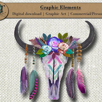 Gypsy Cow Skull | Graphic Element | 1 png images w/ transparent background | Digital Download | high resolution 300 dpi