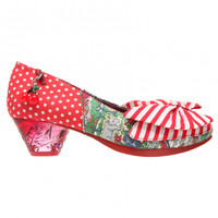 IRREGULAR CHOICE TRINKLETINA LOW RED FLORAL POLKA DOT VINTAGE STYLE SHOES