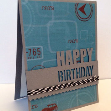 Handmade card, happy birthday, masculine paper, gray and blue, bakers twine, designer paper, birthday card, greeting card, birthday boy