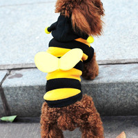 Bee Dog Cosplay Clothes, Teddy Poodle Autumn Winter Pet Clothes Coral Fleeceturns Cute Yellow Bee, Free Shipping!