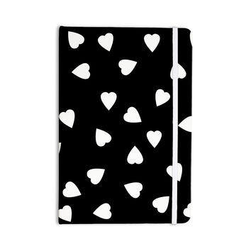 "Suzanne Carter ""Hearts White"" Black Everything Notebook"