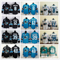 San Jose Sharks 8 Joe Pavelski 12 Patrick Marleau 39 Logan Couture 48 Tomas Hertl Ice Hockey Jerseys Black White Pacific Teal Jersey