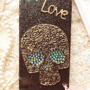 Unique Skull Love Bling Black Case for iphone 4 4s for iphone 5 5s