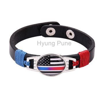 6pcs/lot! Thin Blue Red Line Police Fire Fighter US American Flag Bracelet Adjustable Leather Wristband Cuff For Women Men