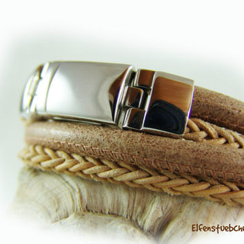 men's leather wrap bracelet -magnetic clasp -  leather light brown silver stainless steel - toasted almond - for him - for men