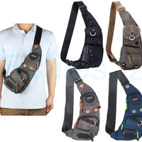 Men's Women's Nylon Sling Chest Bag Shoulder Bag Outdoor Hiking Bicycle Backpack [10198320711]