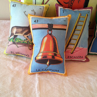 Campana Bell Mexican Loteria Mini Pillow, Tuck Pillow or Bowl Filler - Christmas / Dia De Los Muertos / Day of the Dead