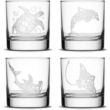 Choose your Whiskey Glass with Tribal Sea Animals, Sand Carved by Integrity Bottles