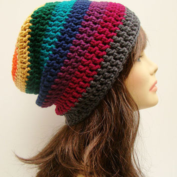 FREE SHIPPING - Slouchy Crochet Beanie Hat - Multi, Rainbow, Maroon, Orange, Yellow, Green, Teal Blue, Navy, Purple, Fuchsia, Charcoal Gray
