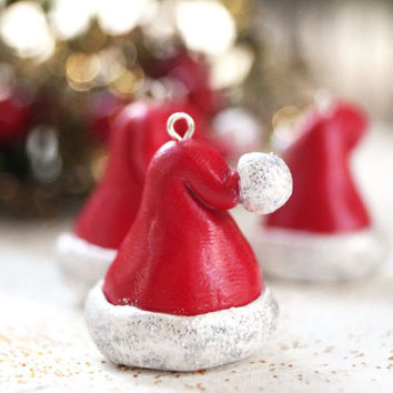 Santa Hats Ornaments, Set of 4 Christmas Tree Ornaments, Tree Decorations