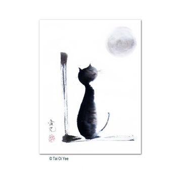 Sumi-e cat print signed by artist- Tomorrow Will Be A Better Day
