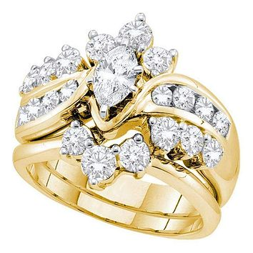 14kt Yellow Gold Women's Marquise Diamond Bridal Wedding Engagement Ring Band Set 2.00 Cttw - FREE Shipping (US/CAN)