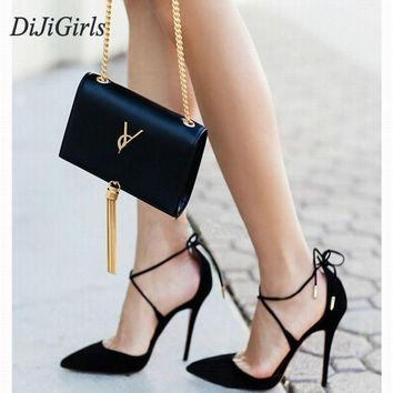 DiJiGirls New Summer Style women's Lace Up high heels Pointed Toe Bandage Stiletto sandals celebrity ladies shoes Pumps Black