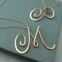 14k gold filled Calligraphy Necklace-any initial available