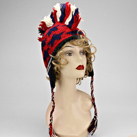 American Flag Knitted Mohawk Hat