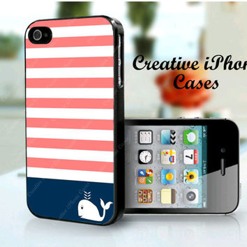 Stripes with Cute Whale for iPhone 4/4S Case, iPhone 5 Case, iPod Touch 4, iPod Touch 5, Samsung Galaxy S3, Samsung Galaxy S4