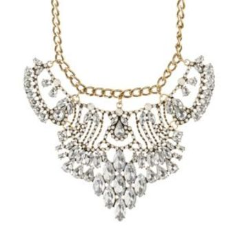 Gold Rhinestone Statement Bib Necklace by Charlotte Russe