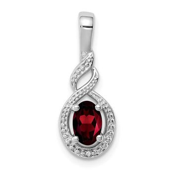 Sterling Silver January Garnet Oval & Diamond Pendant