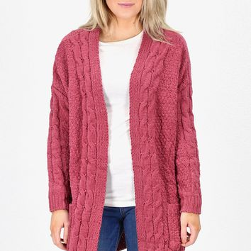 Chunky Chenille Cable Knit Long Cardigan {Marsala}