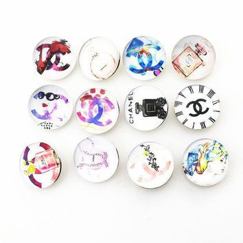 New Arrive 18mm Mix Glass Tow C Perfume Ginger Snap Buttons Charms Fit Snap Button Bracelet&bangles Diy Jewelry
