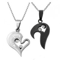 Couple Stainless Steel Necklace Sets I Love You Heart Shape Pendant (Black & Silver)