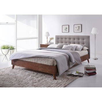 Baxton Studio Alinia Mid-century Retro Modern Grey Fabric Upholstered Walnut Wood Full or Queen Size Platform Bed | Overstock.com Shopping - The Best Deals on Beds