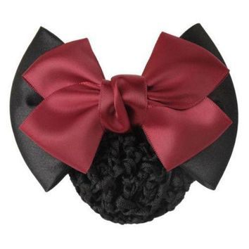 ICIKW8 1 X Fine Women Lady Girls Bow Barrette Hair Clip Cover Bowknot Hairpin Bun Snood Hair Accessories