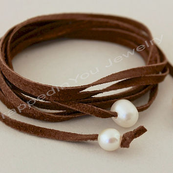 Pearl Leather Choker Wrap Necklace - Natural Soft Leather Suede w/ 3 Freshwater Pearl Choker / Lariat / Bracelet / Anklet - MORE COLORS 388