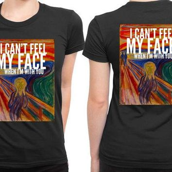 DCCK7H3 The Weeknd I Cant Feel My Face When I Am With You Illustrations 2 Sided Womens T Shirt