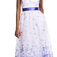 Sleeveless Floral Print Organza Mid Length Party Dress - Adrianna Papell