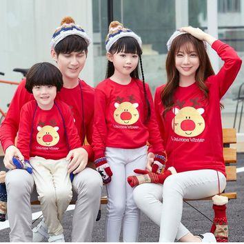 Christmas Pajamas Family Winter Cotton Long Sleeve Father Mother Children Sweater Shirt Family Matching Outfit
