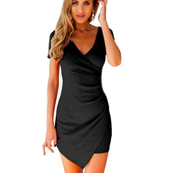 Hot Selling Women Summer Slim Fitted Bodycon Mini Dress Wrap Dress Evening Party Dresses