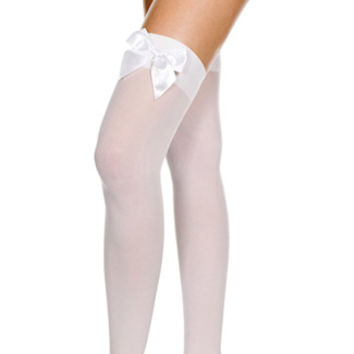 Opaque Thigh Highs with Satin Bow, Costume Hosiery, Costume Thigh High, Satin Bow Thigh High