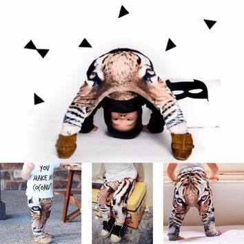 Puseky 2017 Spring Fashion Baby Harem Pants Cartoon 3D Printing Tiger Cotton Kids Children Trousers Legging Toddlers Baby Boys