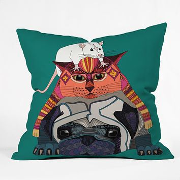 Sharon Turner mouse cat pug Throw Pillow