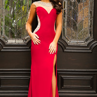 99085 Red Fitted Dress - Prom Dresses