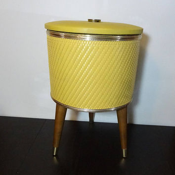 Vintage Yellow Tripod Sewing Basket with Tapered Legs - Sewing/Knitting Box with Lid and Organization Tray - Mid Century Modern
