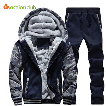 ACTIONCLUB Tracksuit Men Winter Thick Inner Fleece Hoodie Men Hat Casual Active Coat Men Zipper Outwear 2PC Jacket+Pants